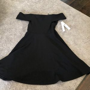 AQUA BLACK OFF THE SHOULDER DRESS NWT